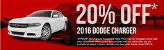 Right now you can get 20% off a 2016 Dodge Charger at Russ Darrow Chrysler Jeep Dodge Ram!