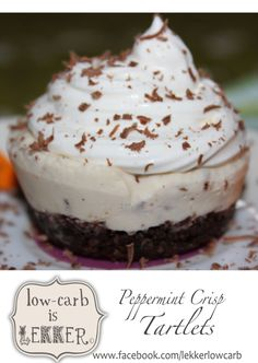 """Piece of Pie or Peace of Pie… 2 Absolute South African favourites """"Decarbed"""" {PIE CRUST & Peppermint Crisp Tart} Banting Desserts, Banting Recipes, Low Carb Recipes, Peppermint Crisp Tart, Low Carb Deserts, Butter Tarts, Low Carb Cheesecake, Sweet Tarts, Food To Make"""