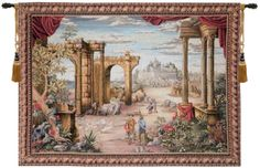 Tapestries - This jacquard wall tapestry, Vue Antique, is a perspective of an exotic landscape. The foreground features ruins and draped columns surrounded by verdant greene
