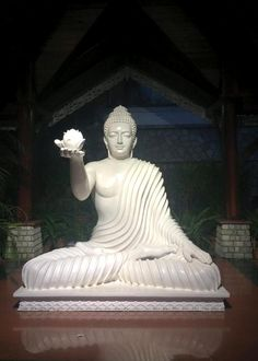 """""""A white flower grows in quietness. Let your tongue become that flower. Theravada Buddhism, Buddha Sculpture, Buddha Zen, Buddha Painting, Painting Quotes, Guanyin, Buddhist Art, Art Gallery, Statue"""