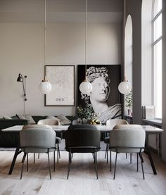 Get inspired by these dining room decor ideas! From dining room furniture ideas, dining room lighting inspirations and the best dining room decor inspirations, you'll find everything here! Dining Room Lamps, Dining Room Lighting, Dining Room Design, Modern Dining Room Chairs, Clear Dining Chairs, Office Chairs, Industrial Dining Rooms, Modern Dinning Room Ideas, Luxury Dinning Room