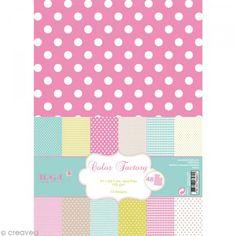 Papier scrapbooking Toga - Color factory - Motifs géométriques - 48 feuilles A4 - Photo n°1