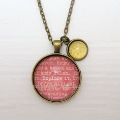 """Glass Dome Pendant - """"Explore It"""" & Yellow Flower print - Inspirational Double Pendant Necklace -  24"""" Chain - Antique Bronze Glass Cabochon - pinned by pin4etsy.com"""