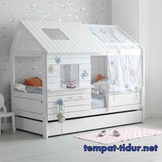tempat tidur anak perempuan murah model rumah kayu klasik minmalis adalah tempat tidur anak model rumah unik kayu dan kombinasi finishing cat duco putih