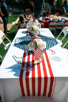 Bunco Party Themes, Blue Party Decorations, 4th Of July Decorations, Party Centerpieces, Party Ideas, Party Games, Patriotic Party, 4th Of July Party, Fourth Of July