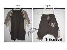 Comment transformer un T-shirt en sarouel, super tuto tout simple et recyclage t shirt !!!!