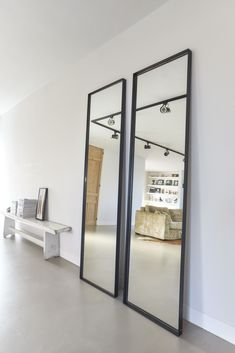 Steel mirror in front. Handmade industrial black steel mirror from Atelier Frontstaal. Available in 2 colors: bronze and black with clear or bronzed glass. Small Home Offices, Small Apartments, Cosy Living, Drop Down Ceiling, Industrial Mirrors, Mirror Inspiration, Handmade Mirrors, Room Setup, My New Room