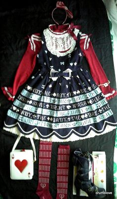 Baby the Stars Shine Bright BtssB, Angelic Pretty AP, Metamorphose Meta and Alice and the Pirates AatP Red, White, and Blue Trump with Stripes Gothic Lolita Fashion Co-ordinate
