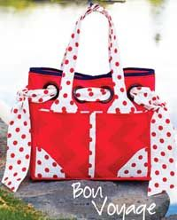 The Bon Voyage Bag Pattern by Kati Cupcake - Love those polka dot ties at the sides!