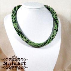 Black Green Beaded Crochet Necklace. Original. Apple. Malahit Collection.