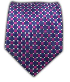 Groomsmen Ties - Chain Box - Navy/Fuschia
