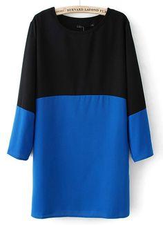 Black Contrast Blue Long Sleeve Chiffon Dress