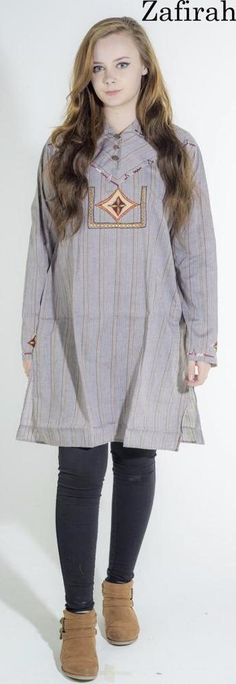 Women unisex kaftan Ethnic embroidered Cotton blend Casual Kurti Top Dress Tunic #Zafirah