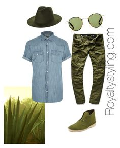 Safari Stance... by royaltystyling on Polyvore featuring polyvore, River Island, G-Star Raw, Clarks, Garrett Leight, RHYTHM, men's fashion, menswear and clothing