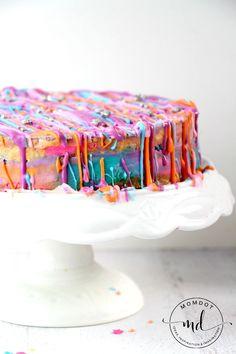 No Bake Unicorn Poop Cheesecake Recipe: Rainbow Tie Dye Cheesecake , gorgeous!