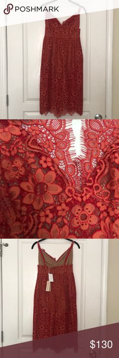 For Love And Lemons dress For love and lemons. Midi dress. Floral lace. Red and orange color. New with tags. For Love And Lemons Dresses Midi