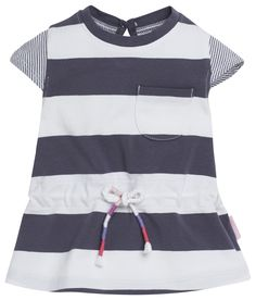 Girls' dress Evy by Noppies. Made of 95% cotton and 5% elastane. The cap sleeve dress has a striped print. The dress can be fitted with a drawstring. The button on the back allows for easy dressing. #noppies #babyfashion #baby #boys #girls #cutebaby www.noppies.com