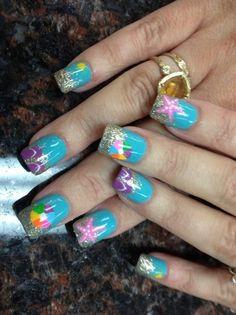 beach nails by Pinky - Nail Art Gallery by Nails Magazine Beach Nail Art, Beach Nails, Red Nail Art, Cute Nail Art, Christmas Nail Art, Holiday Nails, Great Nails, Cute Nails, Vacation Nails