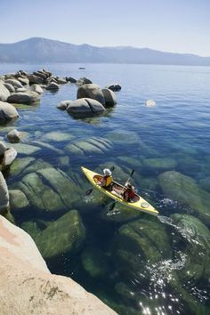 Kayaking in crystal clear waters of Lake Tahoe is always a daily activity. I want to go back to Lake Tahoe so bad! Beautiful Places In California, Beautiful Places To Visit, Oh The Places You'll Go, Places To Travel, Travel Destinations, Tourist Places, Wonderful Places, Amazing Places, Lago Tahoe