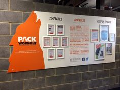 Cut-out noticeboard with permanent messages and interchangeable snap frames @ easyGym - East Ham