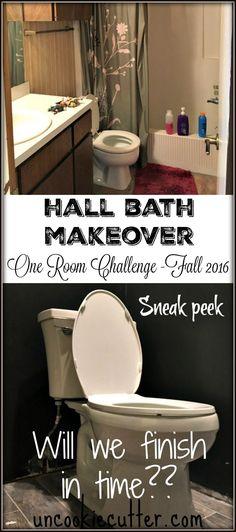 Hall Bath Makeover - One Room Challenge - Fall 2016 - Week 5 - UncookieCutter.com