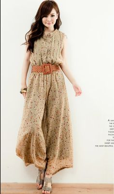 Wholesale Charming & Modern Fashionable Stand Collar Printing Jumpsuit with- Belt ----Apricot top dresses
