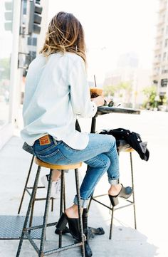 Chambray on denim. The perfect outfit for Sunday errands.