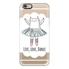 iPhone 6 Plus/6/5/5s/5c Case - Live, Love, Dance - Ballerina - Cat ($40) ❤ liked on Polyvore featuring accessories, tech accessories, iphone case, apple iphone cases, iphone cover case and cat iphone case