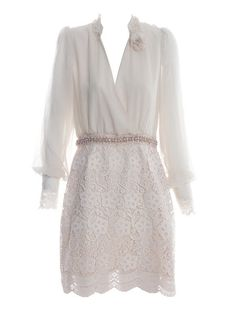 Apricot Long Sleeve Crochet Floral Scallop Edge Wrap Dress >> So pretty!