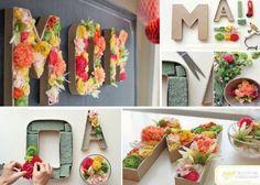 Tip : Kunstbloemen voor de meisje slaapkamer met haar naam ... Lief