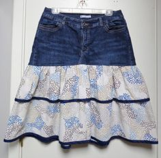 Items similar to Refashioned OOAK BlueTiered Jean Skirt in Size 16 on Etsy Denim Ideas, Denim Crafts, Skirt Patterns Sewing, Skirt Outfits, Modest Outfits, Summer Outfits, Creation Couture, Shirt Refashion, Denim And Lace