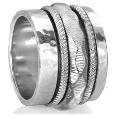 COURAGE (MR629) - Silver Serenity Collection - MeditationRing (Spinner... ($239) ❤ liked on Polyvore featuring jewelry, rings, silver jewellery, spinner ring, swivel ring, silver rings and silver band ring