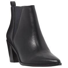 Buy Dune Preslee Toe Pointed Block Heel Ankle Boots, Black Leather Online at johnlewis.com