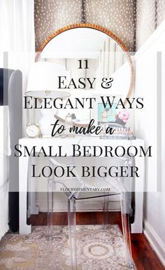 It's no secret that small bedrooms can be tricky to decorate. These simple and stylish ideas to make a small bedroom look bigger will help you make the most of your visual space in even the closest quarters. This list of small space hacks are easy to inco Small Space Bedroom, Small Master Bedroom, Small Bedroom Designs, Modern Bedroom, Contemporary Bedroom, Bedroom Simple, Trendy Bedroom, Small Bedroom Decor On A Budget, Tiny Bedroom Storage