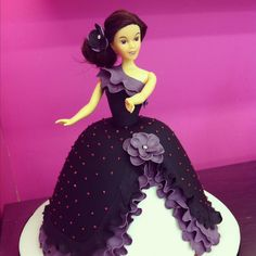I like this one but could we make it with a little more bustle and ruffle? Or more flowers? Or with a lace overlay instead of the pearls? It is a little too plain. If we could jazz it up, I like it on top of an ombre cake.