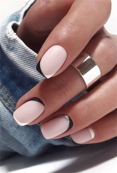 Rounded Acrylic Nails, Short Square Acrylic Nails, Short Square Nails, Almond Acrylic Nails, Summer Acrylic Nails, Summer Nails, French Tip Nail Designs, Natural Nail Designs, Square Nail Designs