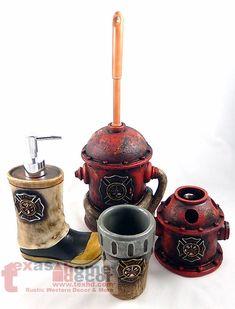 Fireman Bathroom Accessory Set 4 Pieces Maltese Cross Fire Hydrant Boot Hose NEW | Home & Garden, Bath, Bath Accessory Sets | eBay!