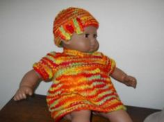 #Free Pattern; Knit; American Girl 15 inch Bitty Baby Dress and Hat  ~~ Sewing Doll Clothes, Crochet Doll Clothes, Sewing Dolls, Knitted Dolls, Doll Clothes Patterns, Knitted Hats, Crochet Dolls, Baby Patterns, Knitting Patterns Free