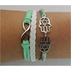 Apple green,Fatima bracelet,infinity bracelet,hand Bracelet,Couples bracelet,lover bracelet,leather bracelet,hipsters jewelry,braided bracelet,Hands of Fatima, Morocco