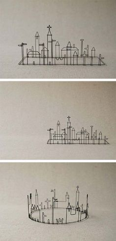 Love These Miniature Cities Masao Seki Wire Works Five From The Ground CraftsMetal CraftsWire SculpturesLove LoveArt