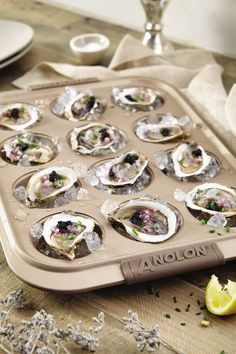 Cookware Beyond the Kitchen: Here's a wedding celebration tip—for a unique engagement party appetizer, break out a beautiful muffin tin or cupcake pan to serve chilled oysters on the half shell. Find your wedding inspiration with Anolon® and complete your wedding gift registry.