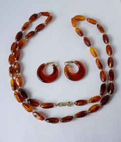 Vintage Amber Color Lucite Necklace and Earrings Set. Faux Amber. Hong Kong. by PinkFlock on Etsy