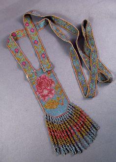 Antique Vintage 1920's Deco Flapper Glass Beaded Sautoir Tassel Necklace Rose