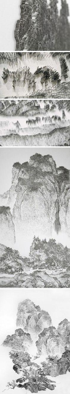 Xia xiaowan 3d paintings on panes of glass chinese art chen chun hao nail gun art prinsesfo Images