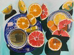 Erika Lee Sears - Erika Lee Sears Tea and Citrus - Colorful Drawings, Art Drawings, Funny Drawings, Painting Inspiration, Art Inspo, Art Et Design, Kunst Inspo, Guache, Wow Art