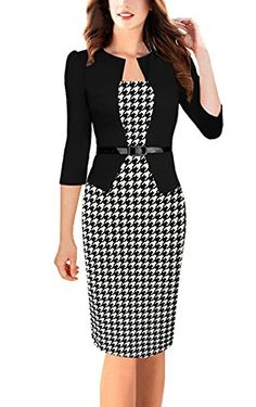 REPHYLLIS Womens Colorblock Wear to Work Business Party Onepiece Dress L -- More info could be found at the image url.