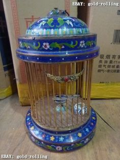 "15""Chinese Bronze Cloisonne handwork carved lifelike bird cage Statue"