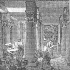 EL MUSEION.- Sabemos que tanto la antigua Biblioteca de Alejandría como el Mouseion asociada a ella fue fundada por Ptolomeo I Soter –que había sido instruido por el mismísimo Aristóteles- hacia el año 295 a.C. con la ayuda y el aliento de Demetrio de Falero quien sería el encargado de iniciar la colección.