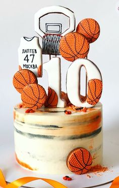 Very cool and simple naked basketball cake decorated with cookies. Very cool and simple naked basketball cake decorated with cookies. Cupcake Birthday Cake, Birthday Cake Decorating, Birthday Cupcakes, Cookie Decorating, Cupcake Cakes, Cake Fondant, 10th Birthday, Nake Cake, Basketball Birthday Parties