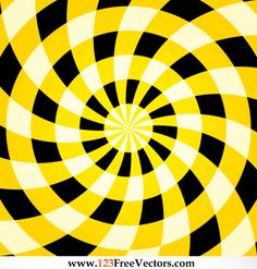 Colorful Optical Illusion Yellow Background Vector